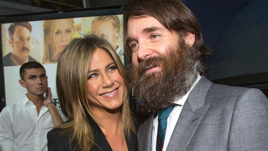 "Cast members Jennifer Aniston and Will Forte are interviewed at the premiere of ""Life of Crime"" in Los Angeles, California, August 27, 2014. The movie opens in the U.S. on August 29. REUTERS/Mario Anzuoni  (UNITED STATES - Tags: ENTERTAINMENT) - RTR441J4"