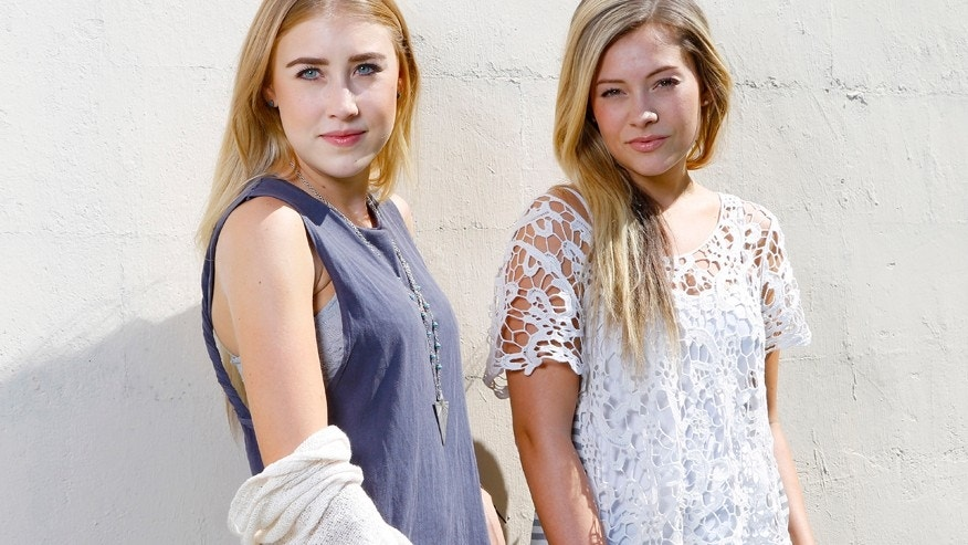 Maddie Marlow, left, and Tae Dye, of Maddie & Tae, pose for a portrait at Love Shack Studio in Nashvile, Tenn., on Thursday, Aug. 27, 2015.
