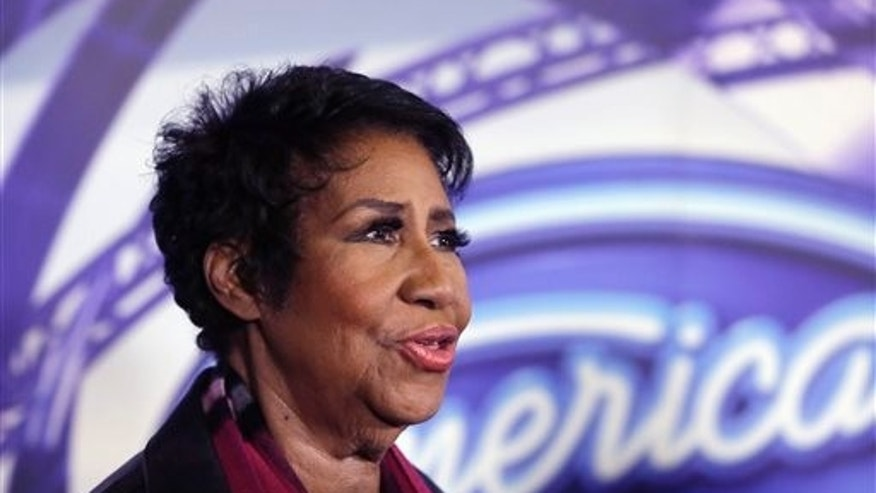 In a March 4, 2015, file photo, singer Aretha Franklin is interviewed after a taping for American Idol XIV at The Fillmore Detroit.  (AP Photo/Carlos Osorio, File)