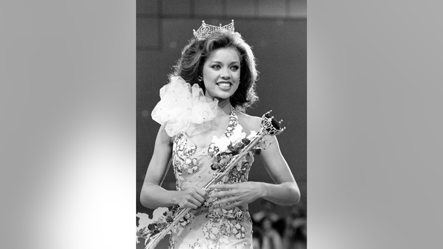 In this Sept. 17, 1983 file photo, Miss New York Vanessa Williams is crowned Miss America 1984 at the Miss America Pageant in Atlantic City, N.J.