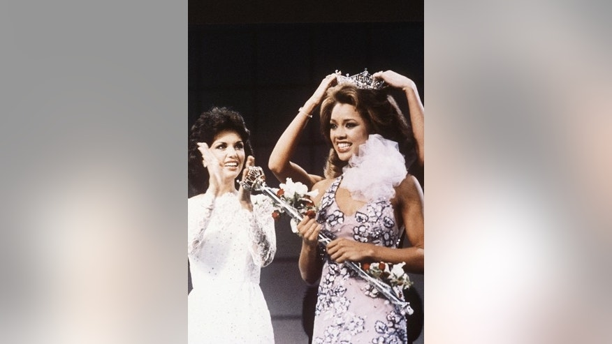 FILE - In this Sept. 17, 1983 file photo, Miss New York Vanessa Williams is crowned Miss America 1984 at the Miss America Pageant in Atlantic City, N.J. The Miss America Organization, Dick Clark Productions and the ABC television network announced Tuesday, Sept. 8, 2015, that they are bringing back the actress and singer to serve as head judge for the 2016 competition. Williams won the title in 1984 but resigned after Penthouse magazine published sexually explicit photographs of her taken several years earlier.