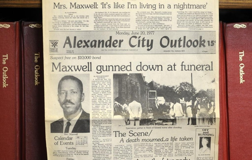 This photograph shows the front page of the town newspaper following the slaying of Willie Maxwell in 1977.
