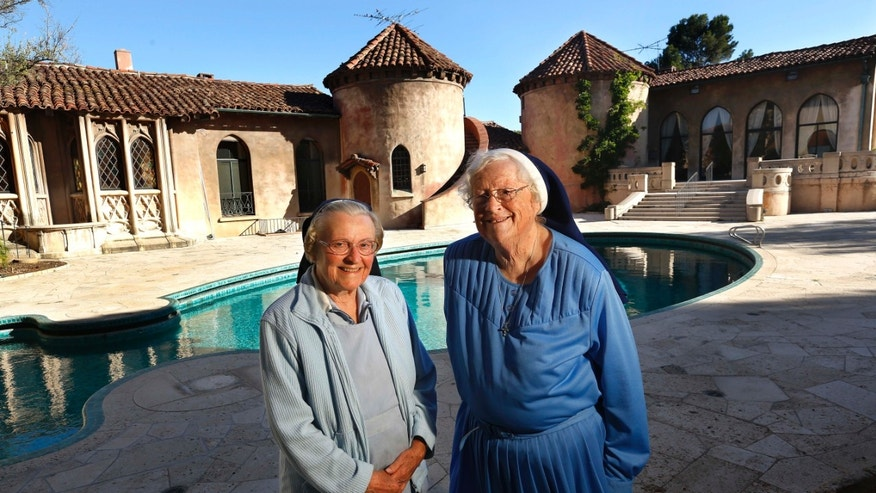 Sister Catherine and Sister Rita outside the IHM Retreat House on June 25, 2015 in Los Feliz, California.