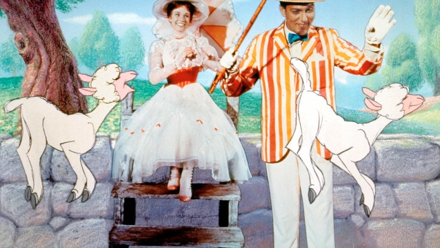 This promotional photo provided by Disney Home Entertainment shows actors Julie Andrews as Mary Poppins and Dick Van Dyke as Bert in a scene from the 40th anniversary edition of the Disney DVD. (AP Photo/Disney Home Entertainment)