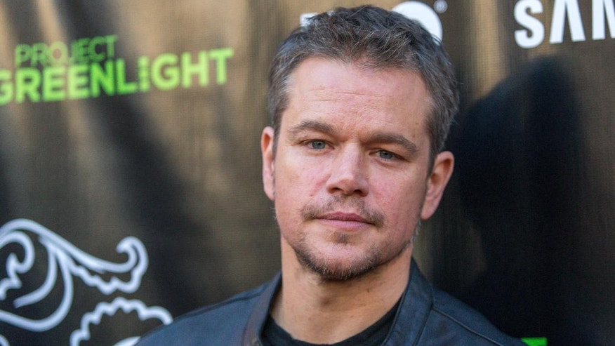"FILE - In this Aug. 10, 2015 file photo, Matt Damon attends The Project Greenlight Season 4 premiere of ""The Leisure Class"" in Los Angeles. Damon has apologized for comments regarding diversity in filmmaking that sparked widespread backlash, after a portion of a conversation from HBO's ""Project Greenlight"" circulated online.  (Photo by Paul A. Hebert/Invision/AP, File)"