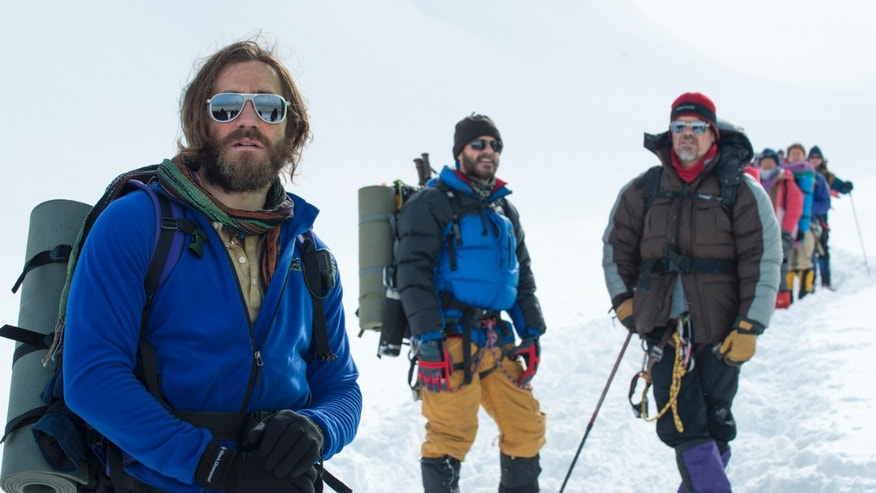 "Jake Gyllenhaal, from left, as Scott Fischer, Michael Kelly as Jon Krakauer, and Josh Brolin as Beck Weathers, in the film ""Everest."""