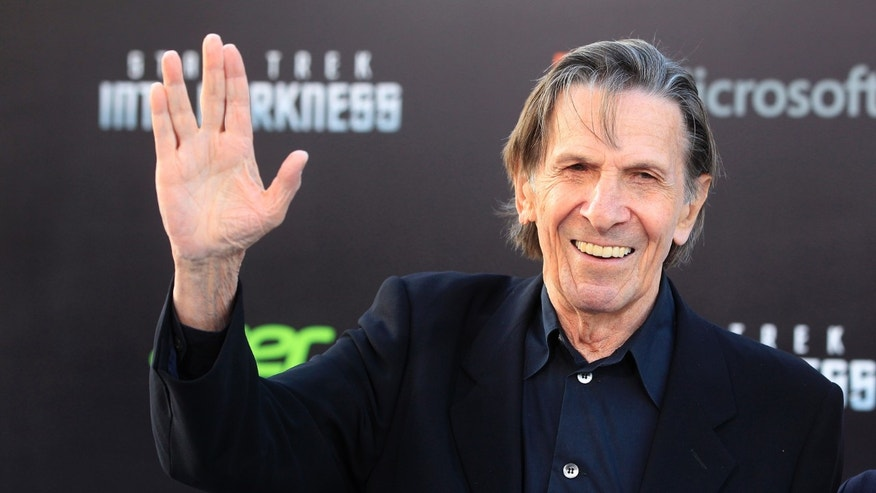 "May 14, 2013. Leonard Nimoy, cast member of the new film ""Star Trek Into Darkness,' poses as he arrives at the film's premiere in Hollywood."