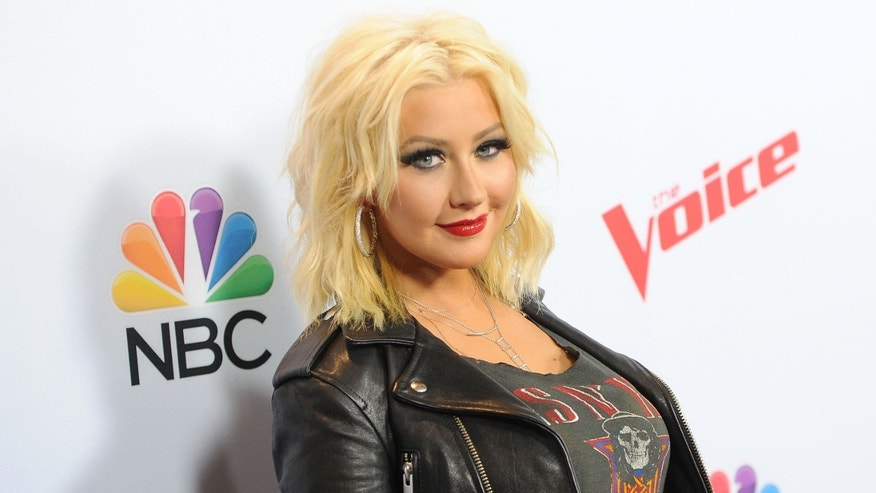"Aguilera arrives at ""The Voice"" red carpet event on April 23, 2015 in West Hollywood, California."