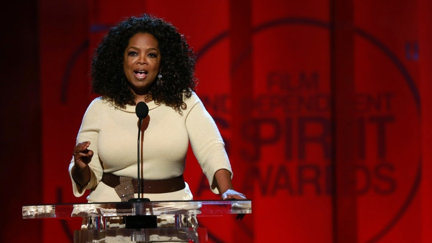 "Feb 21, 2015. Oprah Winfrey arrives on stage to introduce a clip from her Best Feature nominated film ""Selma""at the 2015 Film Independent Spirit Awards in Santa Monica, California."