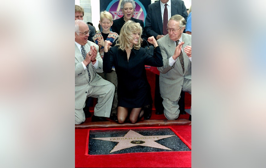 Farrah gets her star on the Hollywood Walk of Fame February 23, 1995.