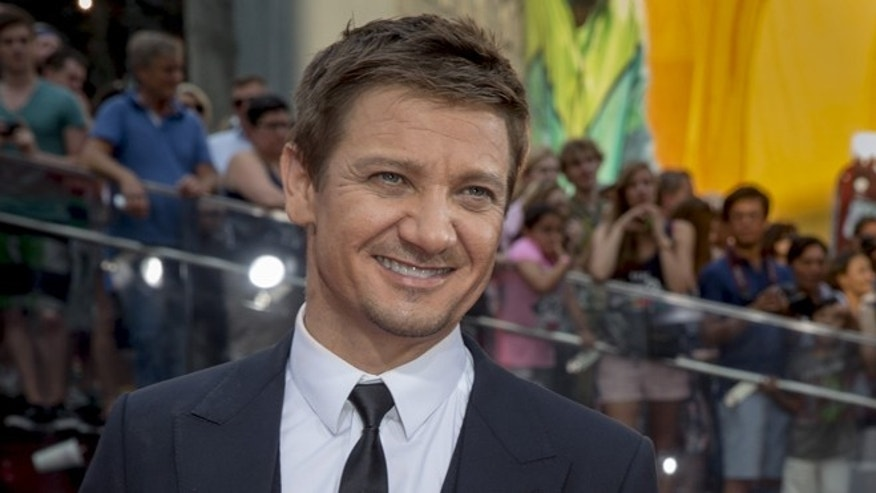"""July 27, 2015. Actor Jeremy Renner poses on the red carpet for a screening of the film """"Mission Impossible: Rogue Nation"""" in New York."""