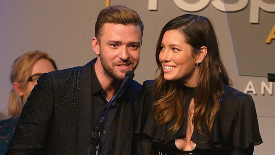 October 23, 2015.  Honorees Justin Timberlake (L) and Jessica Biel accept the Inspiration Award onstage during the 2015 GLSEN Respect Awards at the Beverly Wilshire Four Seasons Hotel in Beverly Hills.