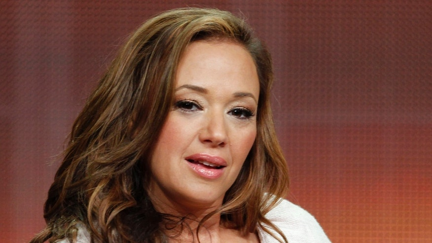 """July 27, 2012. Actress Leah Remini, star of the new comedy series """"Family Tools"""" speaks during a panel discussion at the Television Critics Association Summer press tour in Beverly Hills, California."""