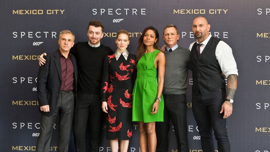 Christoph Waltz, Sam Smith, Lea Seydoux, Naomie Harris, Daniel Craig and Dave Bautista in Mexico City, on Nov. 1, 2015.