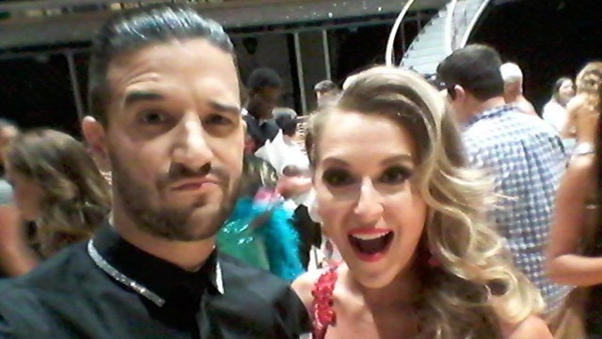 Nov. 10, 2015: Alexa PenaVega and dance partner Mark Ballas talk to reporters after their elimination from 'Dancing With The Stars' (Carole Glines)