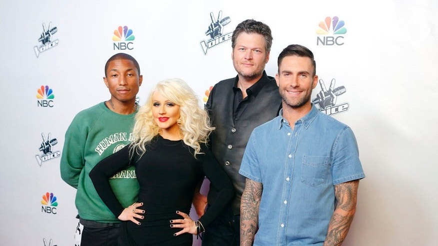 "THE VOICE -- ""Season 8 Press Junket"" -- Pictured: (l-r) Pharrell Williams, Christina Aguilera, Blake Shelton, Adam Levine -- (Photo by: Trae Patton/NBC)"