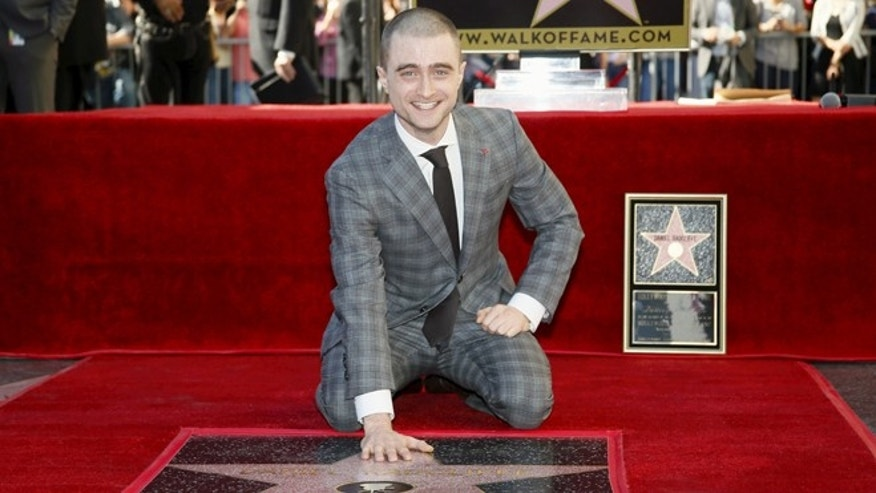 November 12, 2015. Actor Daniel Radcliffe poses during a ceremony honoring him with a star on the Hollywood Walk of Fame in Hollywood, California.