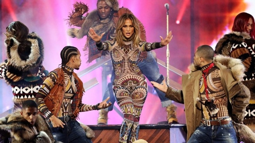 Jennifer Lopez performs at the American Music Awards at the Microsoft Theater on Sunday, Nov. 22, 2015, in Los Angeles. (Photo by Matt Sayles/Invision/AP)