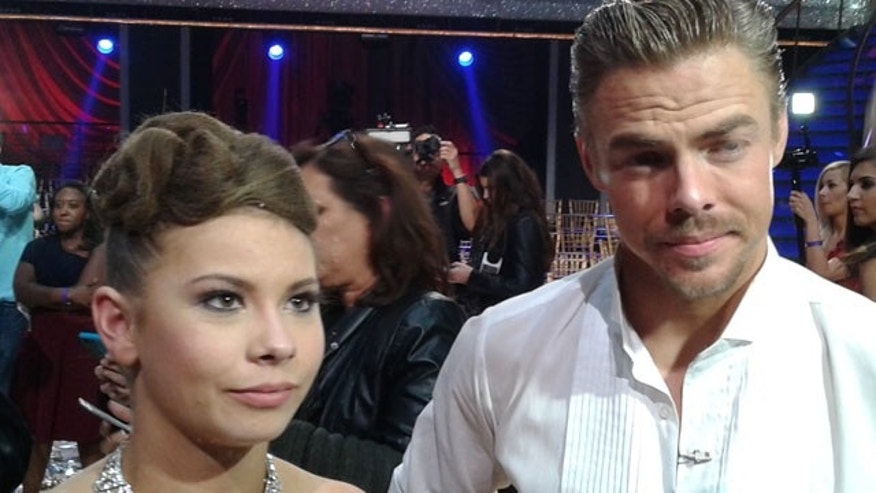 Nov. 24, 2015: Bindi Irwin and Derek Hough speak to the media after winning Season 21 of 'Dancing With The Stars' in Los Angeles. (Carole Glines)