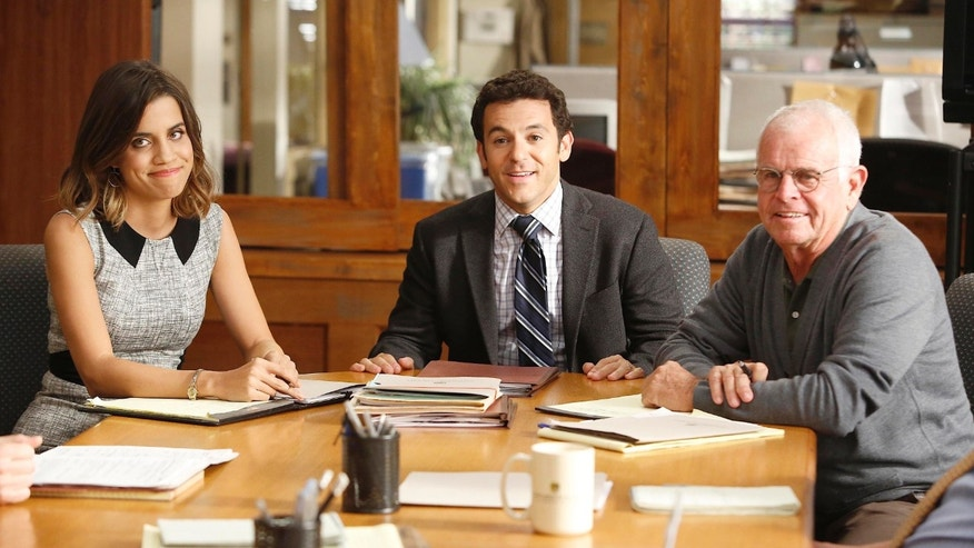 Natalie Morales, Fred Savage and William Devane in an episode of 'The Grinder.'