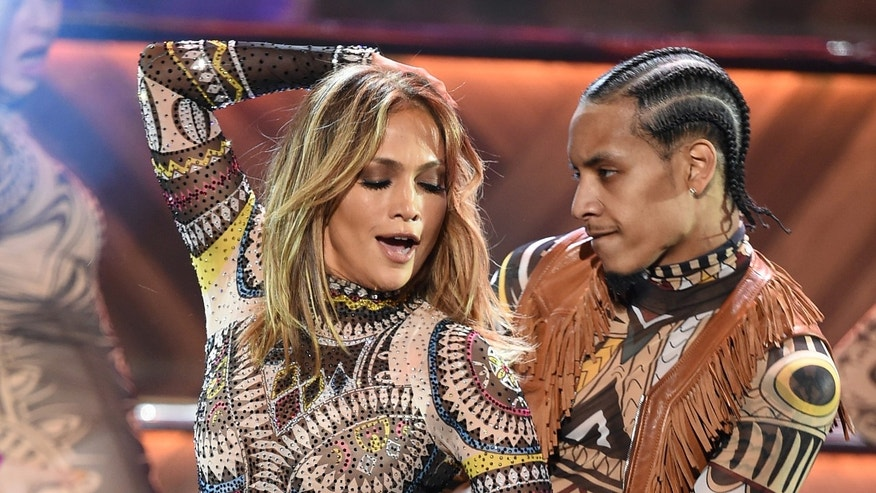 Jennifer Lopez during the American Music Awards on November 22, 2015 in Los Angeles.