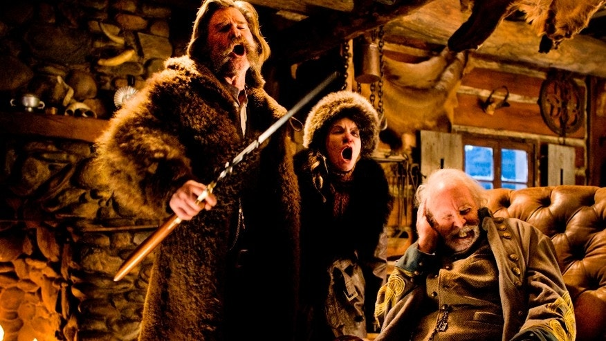 "This image released by The Weinstein Company shows Kurt Russell, from left, Jennifer Jason Leigh and Bruce Dern in a scene from the film, ""The Hateful Eight."""