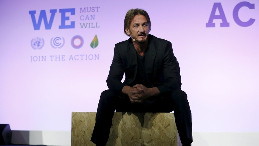 December 5, 2015. Actor and activist Sean Penn, delivers a speech during the World Climate Change Conference 2015 (COP21) at Le Bourget, near Paris, France.