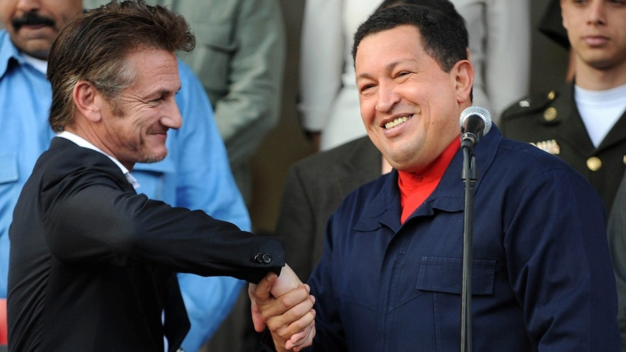 Late Venezuelan President Hugo Chavez and Sean Penn in Caracas on March 5, 2011.