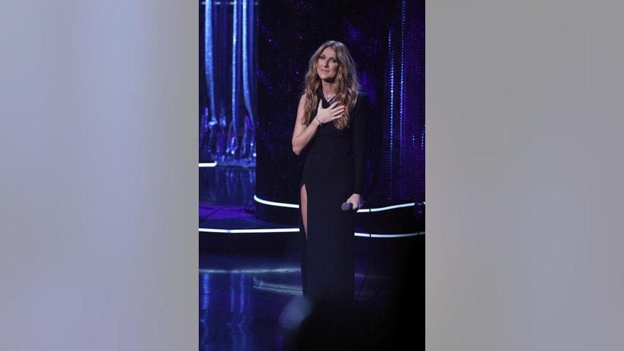 December 2, 2015. Singer Céline Dion performs during Sinatra 100 - An All-Star Grammy Concert in Las Vegas, Nevada.