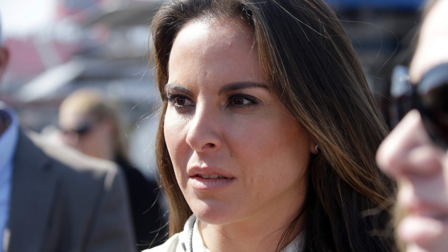 FILE - In this March 24, 2013 file photo, Mexican actress Kate Del Castillo attends a NASCAR Sprint Cup auto race in Fontana, Calif. Mexican authorities said on Monday, Jan. 18, 2016, that they want to talk to the Mexican actress who arranged an interview with drug lord Joaquin El Chapo Guzman for actor Sean Penn. (AP Photo/Reed Saxon, File)