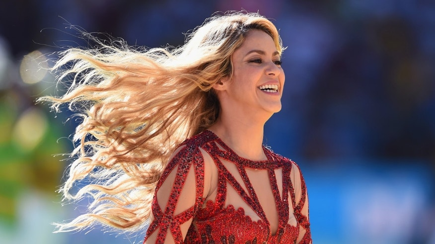 Shakira during the closing ceremony at the World Cup Final on July 13, 2014 in Rio de Janeiro, Brazil.