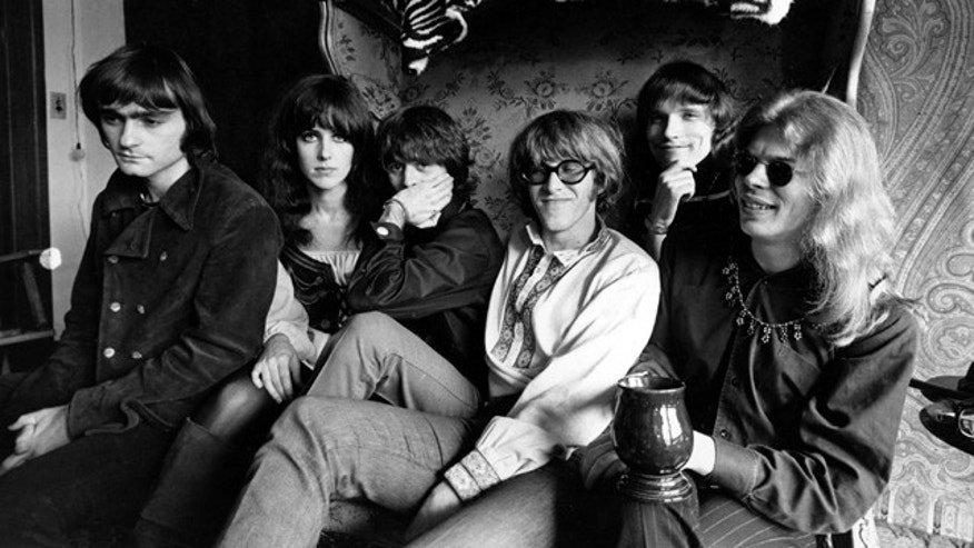 FILE - In this March 8, 1968 file photo, members of the rock group Jefferson Airplane pose for a photograph in San Francisco. From left, Marty Balin, Grace Slick, Spencer Dryden, Paul Kantner, Jorma Kaukonen, and Jack Casady. Kantner died at a San Francisco hospital Thursday after falling ill earlier in the week, former girlfriend and publicist Cynthia Bowman told The Associated Press. (AP Photo).
