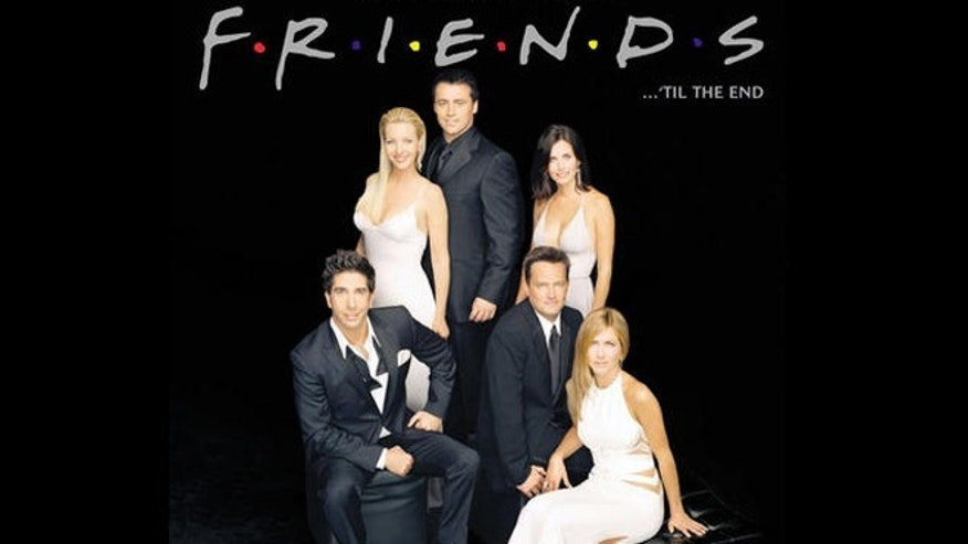 """Friends ... 'Til The End,"" book cover with tv series cast: David Schwimmer, Lisa Kudrow, Matt LeBlanc, Courteney Cox Arquette, Matthew Perry, and Jennifer Aniston."