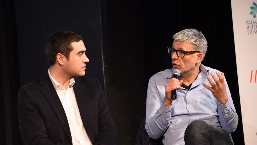 Directors Naji Abu Nowar and Paddy Breathnach on Jan. 2, 2016 in Palm Springs, California.