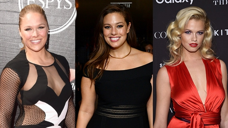 Sports Illustrated swimsuit cover women. Ronda Rousey, Ashley Graham, Hailey Clauson.