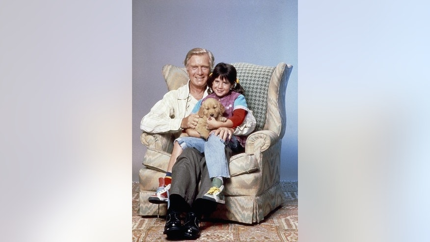 Pictured: (l-r) George Gaynes as Henry Warnimont, Soleil Moon Frye as Penelope 'Punky' Brewster, Brandon the Wonder Dog.