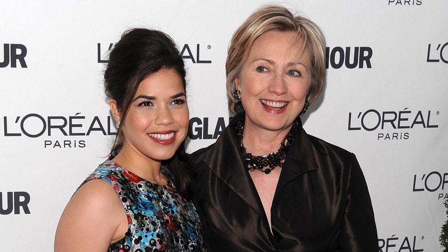 America Ferrera and Hillary Clinton on November 10, 2008 in New York City.