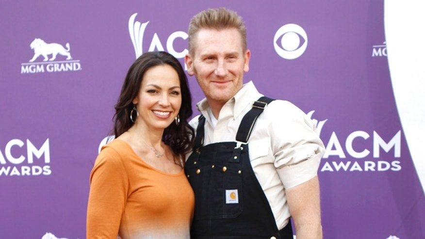 April 7, 2013. Joey+Rory, Joey Martin Feek (L) and Rory Lee Feek, arrive at the 48th ACM Awards in Las Vegas.