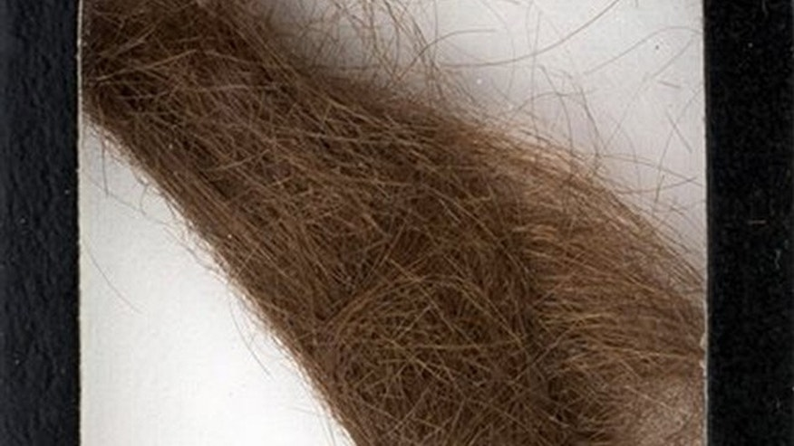 "This photo provided by Heritage Auctions shows a 4-inch lock of hair that was collected by a German hairdresser who trimmed John Lennon's hair before he started shooting ""How I Won the War."" Heritage Auctions says the lock of hair is expected to sell for $10,000 at a Dallas auction later this month. (Heritage Auctions via AP)"