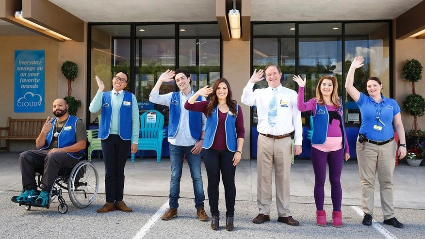 "SUPERSTORE--  ""Demotion"" Episode 110 -- Pictured: (l-r) Colton Dunn as Garrett, Nico Santos as Mateo, Ben Feldman as Jonah, America Ferrera as Amy, Mark McKinney as Glenn, Nichole Bloom as Cheyenne, Lauren Ash as Dina -- (Photo by: Greg Gayne/NBC)"