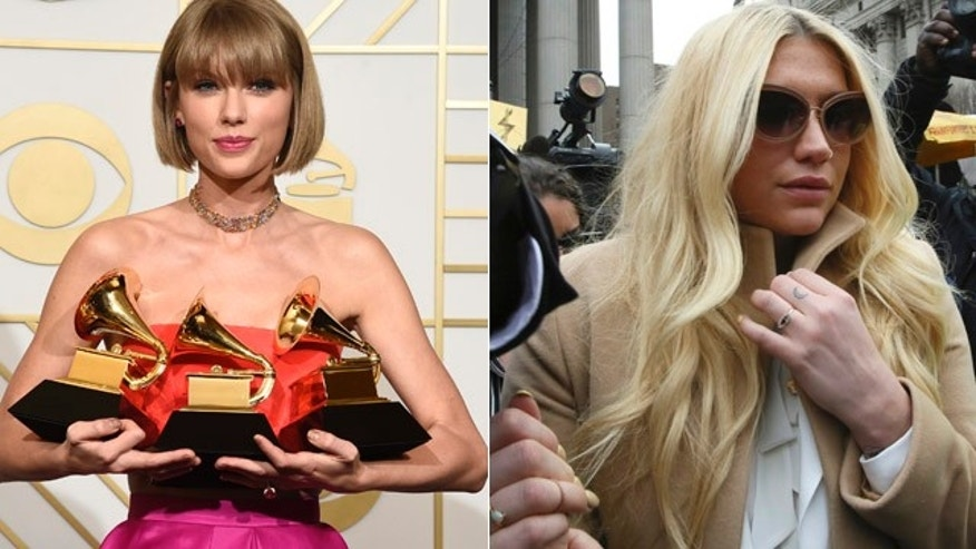 At left, Taylor Swift poses with her three Grammys at Staples Center in Los Angeles Monday. At right, Kesha leaves court in New York Friday. (AP Photo/Mary Altaffer)