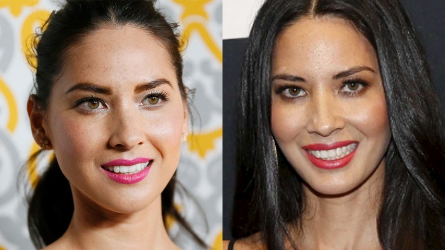 Olivia Munn on Nov. 5, 2014, left, and on Feb. 14, 2016. (REUTERS)