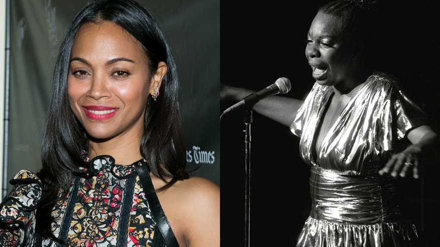 Actress Zoe Saldana (left) and singer Nina Simone.