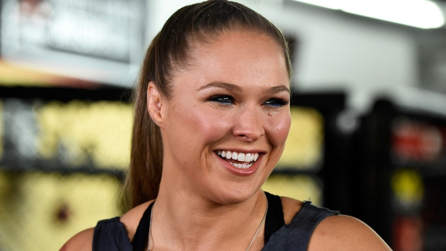 GLENDALE, CA - OCTOBER 27:  Fighter Ronda Rousey Hosts Media Day Ahead of The Rousey Vs. Holm Fight at the Glendale Fighting Club on October 27, 2015 in Glendale, California.  (Photo by Frazer Harrison/Getty Images)