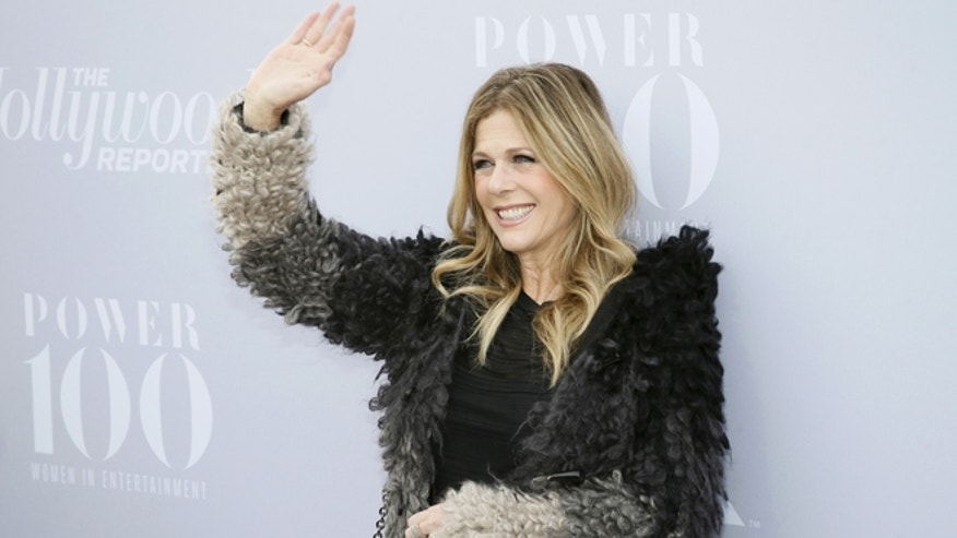 December 9, 2015. Actress Rita Wilson poses at The Hollywood Reporter's Annual Women in Entertainment Breakfast in Los Angeles.
