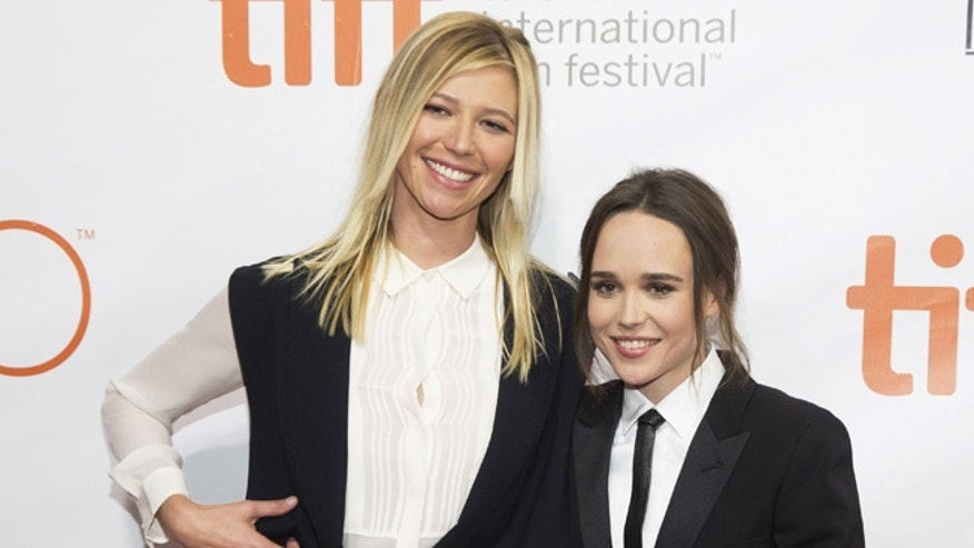 September 13, 2015.  Ellen Page arrives with her girlfriend, Samantha Thomas (L), at the Toronto Film Festival.
