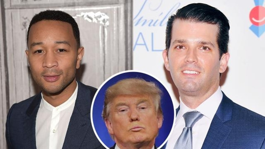 John Legend, Donald Trump Jr, and an inset of Donald Trump.