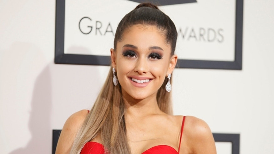 February 15, 2016. Singer Ariana Grande arrives at the 58th Grammy Awards in Los Angeles, California.