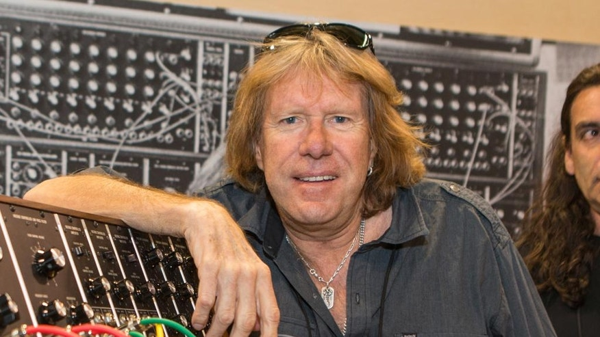 FILE - In this Jan. 23, 2015 file photo, Keith Emerson attends the 2015 National Association of Music Merchants  (NAMM) show in Anaheim, Calif. A Los Angeles coroner's official said Tuesday, March 15, 2016, that Emerson's death has been ruled a suicide after an autopsy revealed he shot himself in the head. Emerson was found dead in his Santa Monica condominium by his longtime partner early on Friday, March 11, 2016. (Photo by Paul A. Hebert/Invision/AP, File)