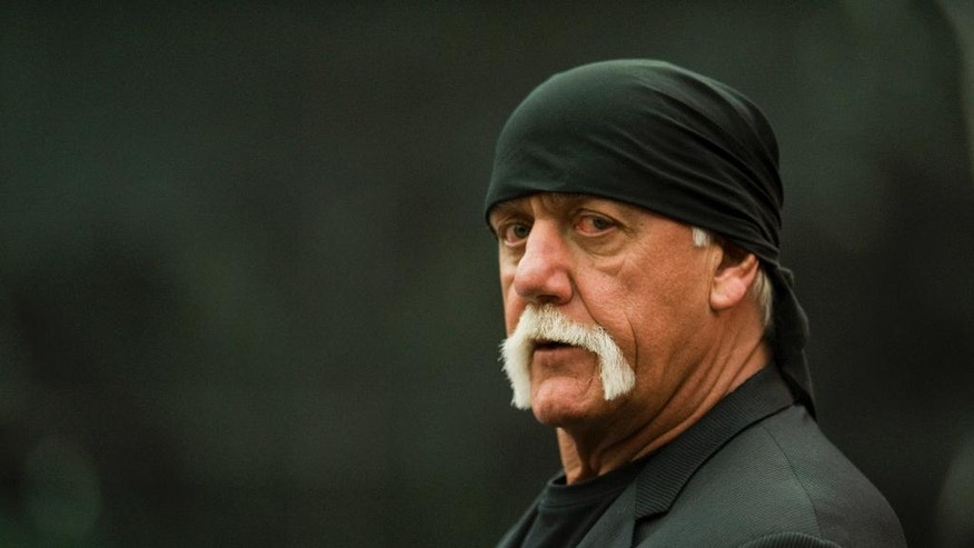 Former professional wrestler Hulk Hogan arrives in the courtroom Wednesday, March 16, 2016, in St. Petersburg, Fla. Hogan, whose given name is Terry Bollea, and his attorneys are suing Gawker Media for $100 million, saying his privacy was violated, and he suffered emotional distress after Gawker posted a sex tape of Hogan and his then-best friend's wife. (AP Photo/Steve Nesius, Pool) NEW YORK POST OUT